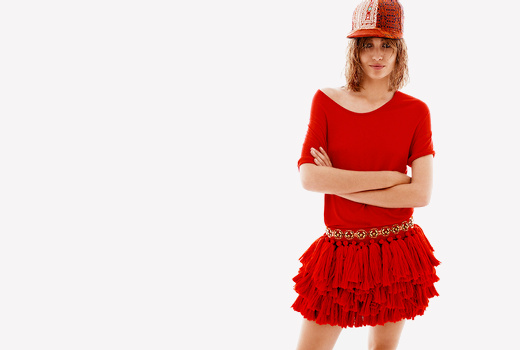 Jupe rouge à pompons H&M