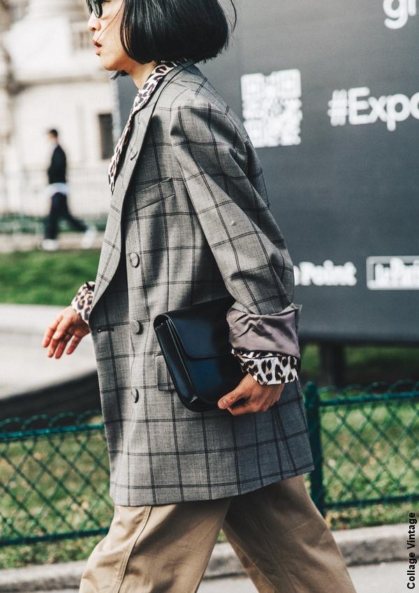 Veste � carreaux oversize + chemise l�opard