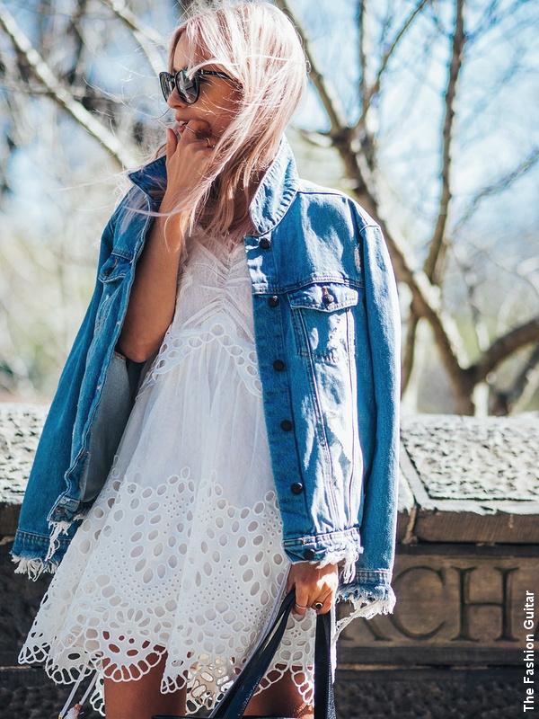 Robe blanche en dentelle + chemise en jean