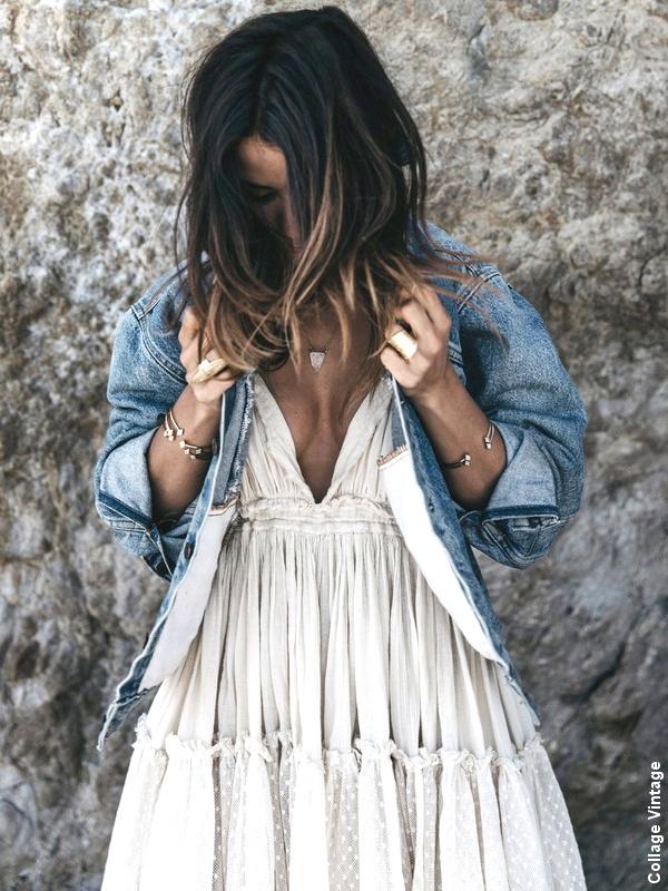 Robe blanche + veste en jean