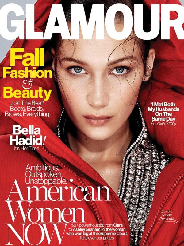 Bella Hadid en couverture de Glamour
