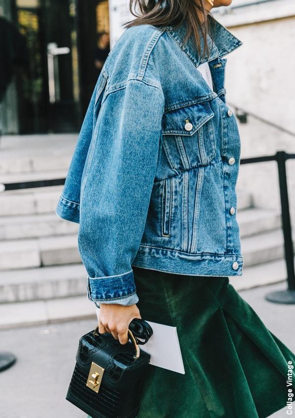 Veste en jean + jupe verte
