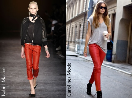 Slim en cuir rouge