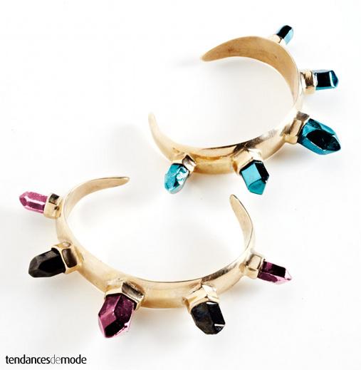 Bracelets dorés - pierres bleu turquoise - noires - rose