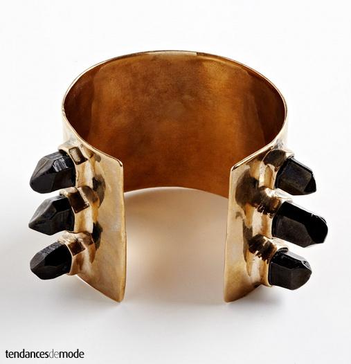 Bracelet manchette doré - pierres noires