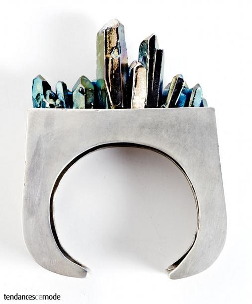 Bracelet argenté - mini éclats pétrole