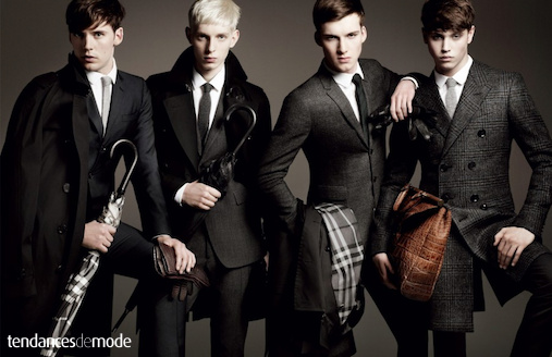 Sam Clafin - Thomas Penfound - Johnny George - Jake Cooper - Burberry 2011-2012