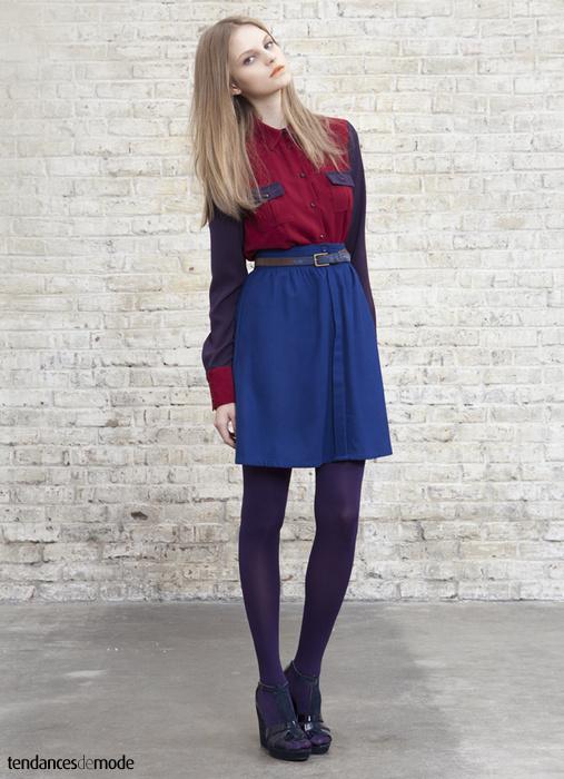 Chemise bi-color army associée à une jupe taille haute en coton