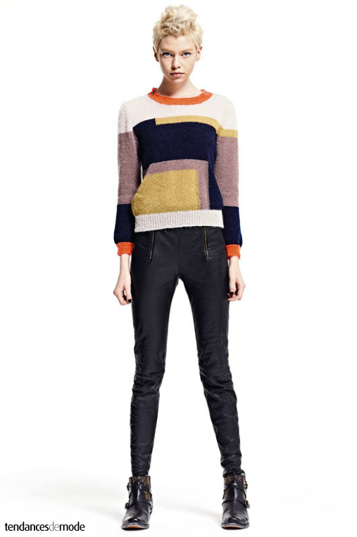 Pull color-block, slim en cuir zippé