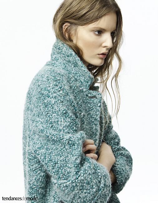 Manteau en laine vert clair