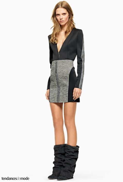Top manches longues à découpes, mini jupe taille haute