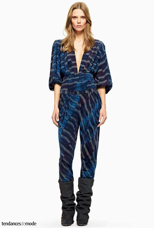 Combinaison pantalon retro, rayée et ultra décolletée