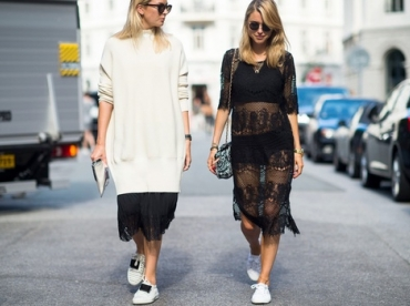 Jupe midi + pull long = le bon mix ?