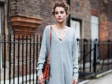 La robe pull XXL gris perle, le v�tement doudou par excellence