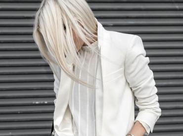 Rien de tel qu'un long blazer pour apaiser le degr� de coquetterie d'une petite robe blanche en dentelle