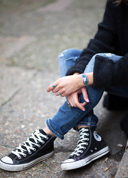 Baskets Converses + slim destroy