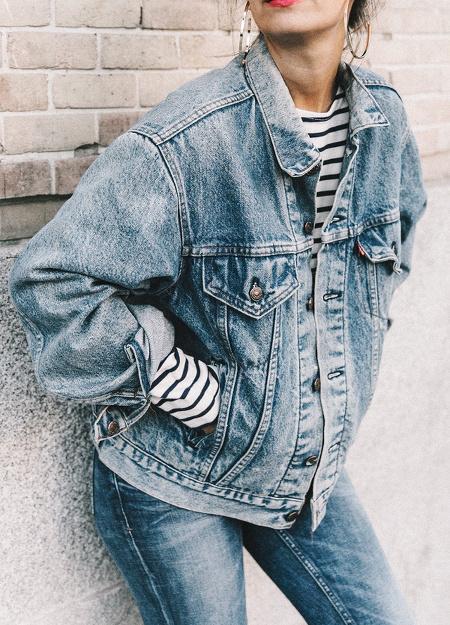 Veste en jean oversize + marinière
