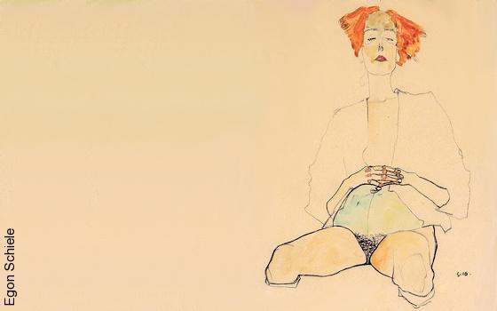 Egon Schiele - Femme semi-nue assise avec les cheveux rouges