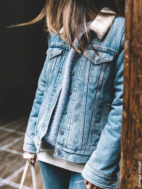 Veste en jean à col en shearling