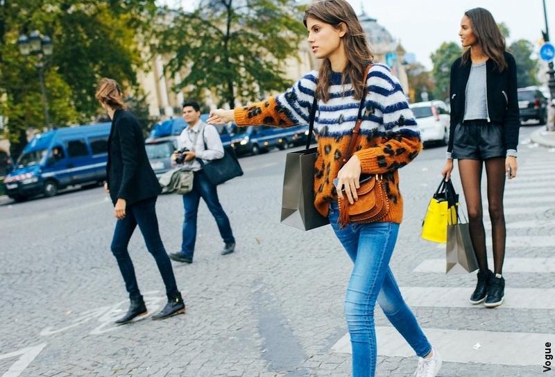 Streetstyle Paris - Pull l�opard marini�re