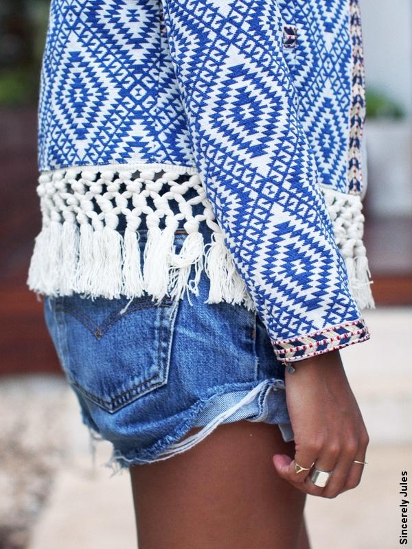 Short en jean + Top ethnique