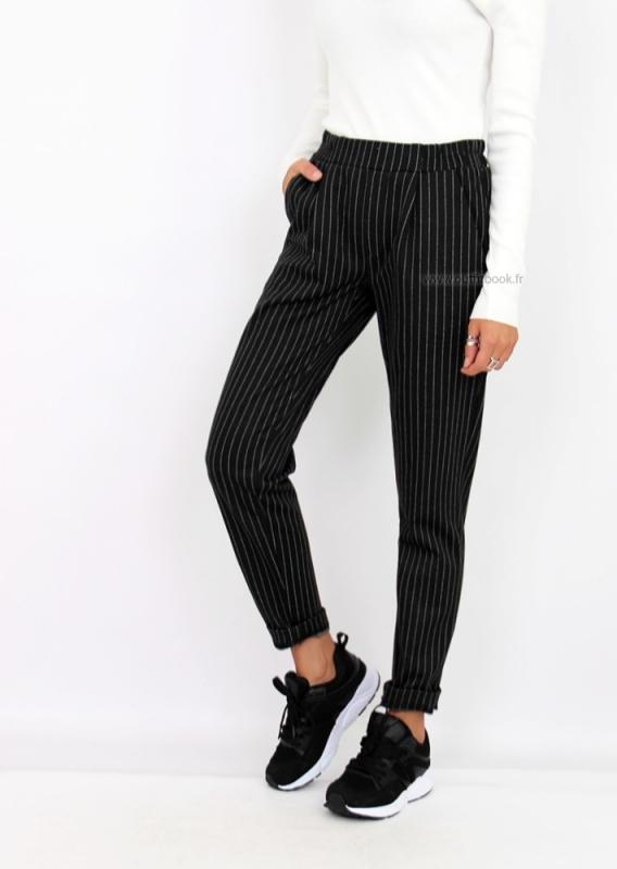 9b85b4bb0f7c31 Pantalon Rayé Noir : avec Quoi le Porter ? - Tendances de Mode