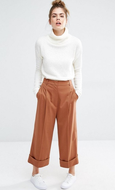 Pantalon large orange