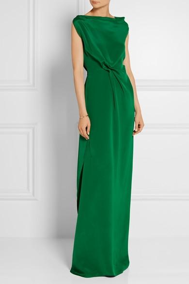 Robe longue mariage verte
